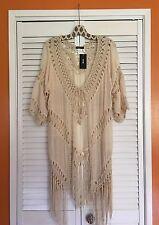 Medium Crocheted Fringe Boho KIMONO Jacket Blouse Top Cardigan Sweater Cotton