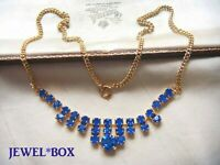 VINTAGE JEWELLERY VIVID SAPPHIRE BLUE CRYSTAL RHINESTONE NECKLACE