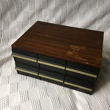 Solid Large Retro Wooden 72 Tape Cassette 6 Drawer Storage Unit - vintage
