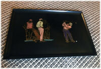 Vintage Curoc Of Monterey Pebble Beach Golfers Large Serving Tray-BEAUTIFUL!