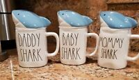 "Rae Dunn Set Of ""Shark ""Ceramic Coffee Mugs ""DADDY SHARK""MOMMY SHARK""BABY  SHARK"