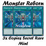 3x MONSTER REBORN| PRISMATIC SECRET RARE | MINT | TN19-EN011| YUGIOH HOLO YUGI