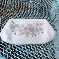 Vintage Michel Swiss Floral Beaded Embroidered Purse Cream Bag France 50s 60s