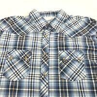 Wrangler Mens XXL 20X Western Cowboy Blue Plaid Pearl Snap Shirt (J1601)