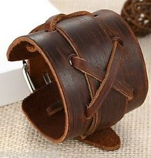 Cuir Véritable Marron Tissage Bracelet Bracelet Bracelet Manchette Criss Cross UK