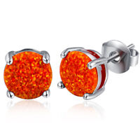 Newest Charming Jewelry Rainbow Fire Red Opal Round Cut Gems Silver Stud Earring