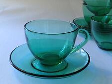 Vintage Arcoroc Cup & Saucer Retro 1960s 1970s Green Glass Tea France