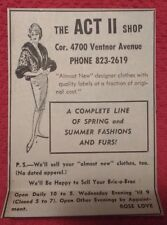 1964 The ACT II Shop Clothing Store Atlantic City NJ Advertisement