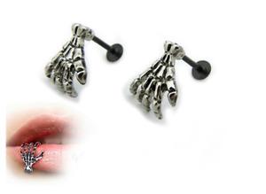 Hot Punk Skull Devil Hand Lip Piercing Skeleton Labret Palm Stud Earrings UK