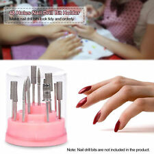 Pink Nail Drill Bit Holder Stand Displayer 48 Holes Manicure Tools Acrylic Cover