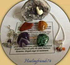 STRESS & DEPRESSION HEALING CRYSTAL SET.+ GUARDIAN ANGEL CHARM GIFT SET. REIKI.