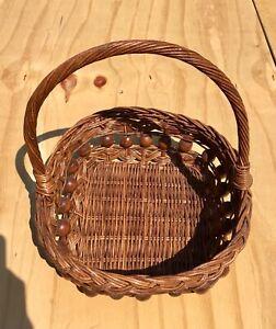 Vintage Square Woven Wicker Basket w/ Handle decor design storage Sz. 11x11x13