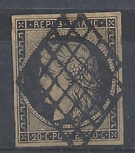 TB YT N° 3 Ceres 20 c oblitéré grille noir Côte 65 €