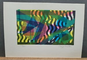 """Craig Foster Signed & Numbered Serigraph Abstract Geometric 150/200 1970s 7""""×10"""""""