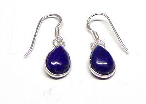 Handmade 925 Sterling Silver Teardrop Lapis Lazuli Drop Earrings 27 x 8 mm + Bag