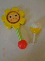 Vintage Baby Rattle Lot of 2 Rattles - Fisher Price Flower Rattle & One Plastic