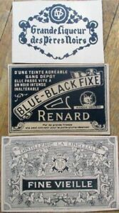 THREE Printer's Proof 1930s Bottle Labels - Renard/Fox, Fine Vieille