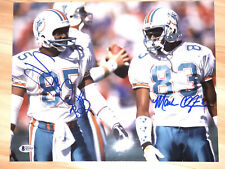 MARK CLAYTON AND MARK DUPER SIGNED 11x14 PHOTO MIAMI DOLPHINS NFL BECKETT BAS
