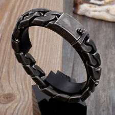 118g Vintage Black stainless steel Men's bracelet curb chain 17mm 8.66'' jewelry