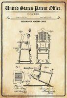 US Brevet Chaise D Nursery 1878 Panneau Métallique Plaque en Étain 20 X 30 CM