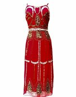 Red Vintage 1920s Flapper Gatsby Downton Abbey Fringe Beaded Dress Size 8-20