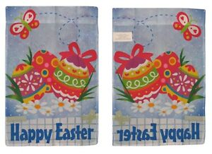 """28x40 Happy Easter Eggs Egg Nylon Sleeved Garden Flag 28""""x40"""""""