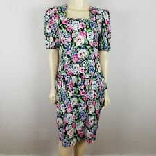 Vintage Jane Singer petites short sleeved floral peplum waist dress sz 12