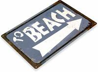To The Beach Ocean Surfing Sunbathing Rustic Retro Wall Art Metal Sign