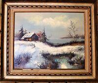 Antique original oil painting on canvas Signed Laurance, Landscape