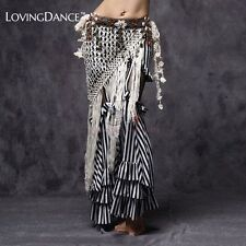 Mesh Belly Dance Hip Scarf Tribal White Handmade Tassel Solid Women Shipping