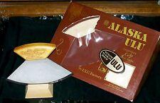 Alaskan Knife ULU W/Wood Stand Bright Blade 1980's Birch Eagle Handle Packaging