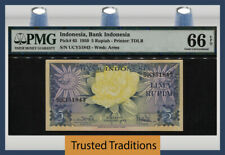 TT PK 65 1959 INDONESIA 5 RUPIAH STUNNING BEAUTY PMG 66 EPQ GEM UNCIRCULATED!