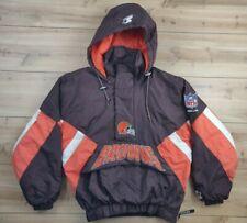 VTG CLEVELAND BROWNS Pouch Pullover Hooded Puffer ProLine Starter Jacket Sz S