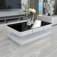 MODERN HIGH GLOSS COFFEE TABLE WHITE WITH BLACK TEMPERED GLASS TOP