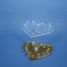 New Gold Heart Makeup Nail Acrylic Gel Brush Pen Holder Stand Display 12 Holes