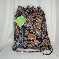Vera Bradley Backsack Kensington Drawstring Backpack Purse Bag Paisley Brown