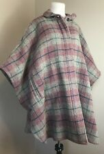WOOLRICH Pink Purple Plaid Poncho Style Women's Coat Wool Pockets One Size