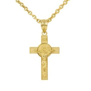 10K Solid Yellow Gold Medium St. Benedict Crucifix Cross Pendant Necklace 1.36""