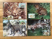 BELIZE 1983 PHQ MAXI CARDS x 4 WWF BIG CATS JAGUAR