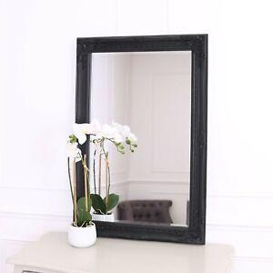 "Rhone Large Rectangle Wall Mirror - Living Room Mirror - 60x90cm 34""x36""- Black"