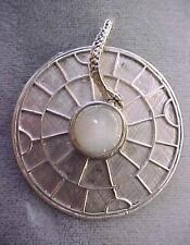 Sterling Silver Unusual Zodiac Disck with Moon Stone Bullet and Serpent as Bail
