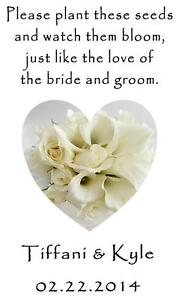 Wedding Favor Seed Packets Personalized Cala Lily Custom Favors Set of 100