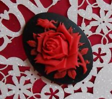 ~Vibrant Deep Single Red  Rose Acrylic Cameo~ a Big  40X30mm Button~ Gorgeous!