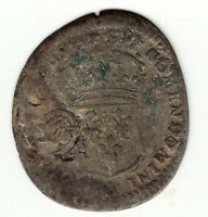 French Colonial, rare 1694/3 V recoined billon sol with lis countermark