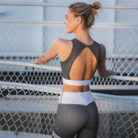 Women Yoga Set Outfit Crop Top w/ High Waist Legging Stretchy W/ Grey & White