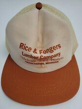 Trucker Hat Mesh Back Snapback Beige Burnt Orange Rice & Fongers Lumber GR MI