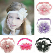 6Pcs/lot Mixed Girls Infant Toddler Flower Lace Pearl Button Headband Hair Band
