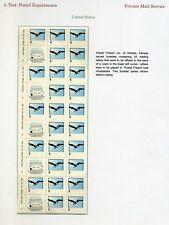 Pps1 Postal Presort Of Wichita Ks Test Stamp Sheet Of 5 Booklet Panes (Lot 803A)