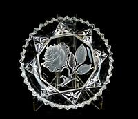 "ELEGANT PRESSED GLASS FROSTED ROSE RIBBED SAW TOOTH RIM 5 1/2"" DISH"