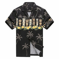 Made in Hawaii Men Hawaiian Aloha Shirt Luau Beach Cruise Party Black Tiki